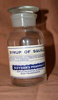 "Apothecary glass bottle ground stopper 6.75"" Boyson's Pharmacy  Squills EMPTY"