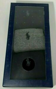 Polo Ralph Lauren Men's Dress Socks 3 Pack L Black Grey Cotton New w Gift Box