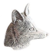 Fox Head Pewter Large Pin Badge - Hand Made in Cornwall