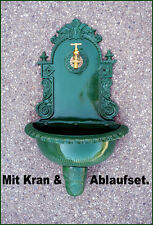 Antik Alu Bassena Wand Brunnen Wandbrunnen Grün Kran Ablauf Wasserhahn 201DG