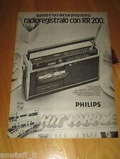 PHILIPS RADIO RADIOREGISTRATORE RR 200=ANNO 1974=PUBBLICITA=ADVERTISING=