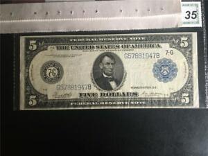 "CHOICE CERTIFIED VERY FINE RARE ""WHITE MELLON"" FR871B 1914 $5 CHICAGO FRN"