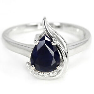 GENUINE AAA BLUE SAPPHIRE PEAR & WHITE CZ STERLING 925 SILVER RING SIZE 7.25