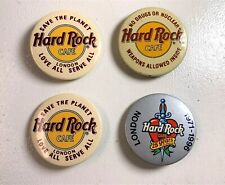 1990's Vintage Lot Of  4 London Hard Rock Cafe Button Pinback Collection