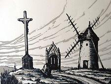 VENDÉE  Le MONT des ALOUETTES gravure LÉON MARTINEAU 1979