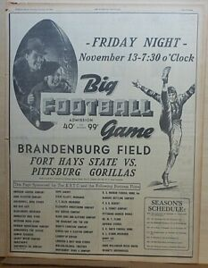 1936 full page ad for football game Pittsburg KS Gorillas vs. Fort Hays State