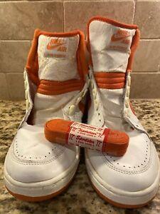 RARE! Vintage 1980's NIKE AIR FORCE High Tops Sneakers SHOES Orange 10.5 Jordan