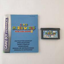 Nintendo Gameboy Advance GBA SP - Super Mario World Mario Advance 2 + Manual
