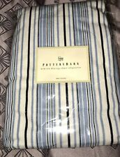 New Pottery Barn Comfort Dining Arm Chair Long Slipcovers Navy Stripe Set of 2