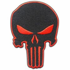 Skull Punisher Red Army Motorcycle Biker Rider Military Punk Iron on Patch #0116
