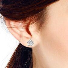 Stud Earrings Womens Perfect Gift Hawaiian Plumeria Flower 925 Sterling Silver