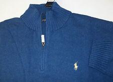 Polo Ralph Lauren 1/2 Half-Zip Knit Cotton Mock Neck Sweater  $125 PONY Logo NWT