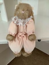 "Vintage The Bearington Bear Collection Plush Bunny Rabbit Pink Pajamas -15"""