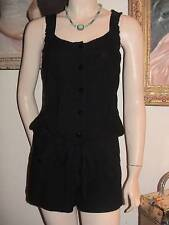 Joit black rayon sleeveless tank jumper romper shorts button front blouson M
