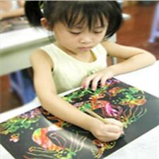 10Sheet Colorful Scratch Art 16K Paper Magic Painting Paper with Drawing Stick S