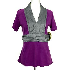 Moxie Cycling Co Size XL Pleat Tee Purple Gray Wool Breathable Athletic NEW