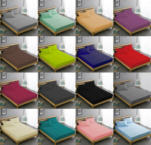 Extra Deep Fitted Sheet Bed Sheets Cotton RIch  Single Double King All Sizes!