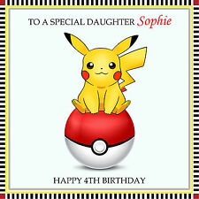 Picatchu Pokemon Personalised Handmade Birthday Card Daughter Son etc any text