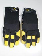 Wells Lamont- Large Yellow Black Leather Work Gloves- Adjustable Wrist Band
