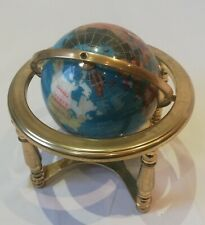Globe Compass Metal Stand Rare Vintage Rotating Blue Office Home Decor