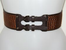 NEW Liz Claiborne New York Two Buckle Woven Stretch Belt ACORN BROWN/XS/SMALL