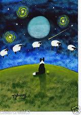 BORDER COLLIE Dog Moon Fantasy Outsider Folk Art PRINT Todd Young COUNTING SHEEP
