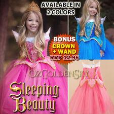 Girls Princess Sleeping Beauty Aurora Dress Up Tutu Halloween Costumes Sz 3-10Y