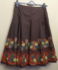 Warehouse UK10 EU38 US6 new brown cotton lined skirt with bright embroidered hem