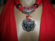 SCARF PENDANT HAND PAINTED HEART  FILIGREE NECKLACE SHAWL WRAP JEWELRY  OOAK