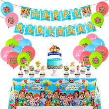 Cocomelon Birthday Party Decorations Supplies with Banner, Toppers, Table Cover