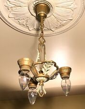 Antique 3 Light Chandelier~ Gold, Cream & Sage~ wheat sheaf design