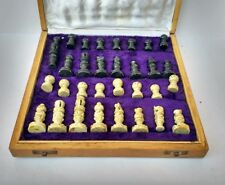 Antique Wooden Chess Board Hand Carved Pieces Vintage Christmas Gift