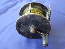 """A RARE VINTAGE T P LUSCOMBE & CO 2 1/2"""" WIDE DRUM BRASS CRANK WIND FLY REEL"""