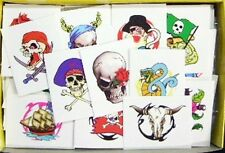 10 x Pirate Tattoo Kids Party  - skull ship treasure flag party bag item gift.