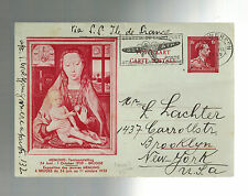 1939 Antwerp  Belgium Postcard Cover to USA Yiddish Memling via Ile de France
