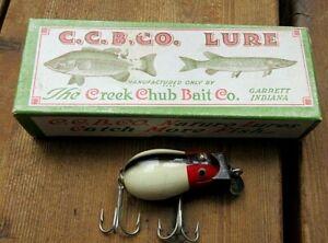 VINTAGE CREEK CHUB TINY TIM WHITE & RED HEAD FISHING LURE IN ORIGINAL BOX