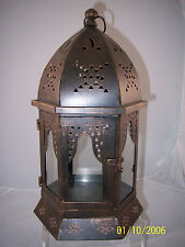 """Lantern Candle Holder Decorative Metal with Glass 6 Sided 17"""" Indoor/Outdoor"""