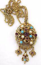 Antique Vintage Gold Tone Metal Chain Necklace & Victorian Style Pendant 40s50s