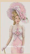 Cross Stitch Chart ELEGANT LADY in Pink Dress - No.1-156c (Large Print)