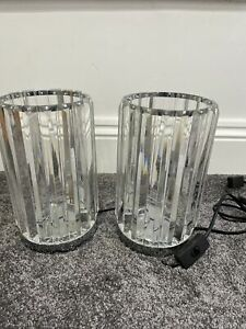Pair Clear Crystal Rod Table Lamps