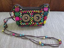 Owl Boho Woven Plastic w/Wood Beads Lined  Cross Body Shoulder Bag Purse