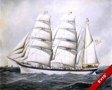 BRITISH SHIP DUNEARN AT SEA FULL SAIL OIL PAINTING ART REAL CANVAS GICLEEPRINT