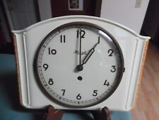 Vtg Art Deco Kienzle Ivory Colored Ceramic Wall Clock w/key needs service 2 work