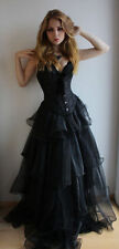 New Long Gothic Corset Prom Dresses Sweetheart Neck Gothic Black Dress Custom