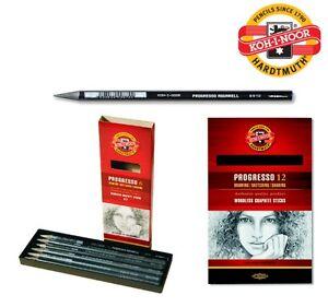 PROGRESSO Woodless GRAPHITE Sticks Set Pencil Aquarell KOH-I-NOOR HB 2B 4B 6B 8B