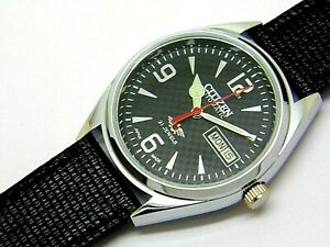 citizen automatic men's steel black dial vintage japan made watch run order a