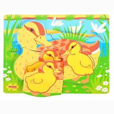 Bigjigs Toys BB013 Chunky Puzzle Duck and Duckling Preschool Learning Toy