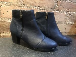 Womens Navy Ankle Boots Low Heel Size UK 4 EUR 37
