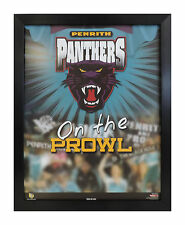 PENRITH PANTHERS ON THE PROWL NRL LOGO LICENCED POSTER FRAMED FULLY GLASSED