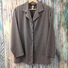 SAG HARBOR A0715 Sz 1X Women's Gray Button Front Long Sleeve Top Plus Size